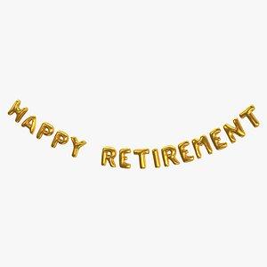 3D Foil Baloon Words HAPPY RETIREMENT Gold