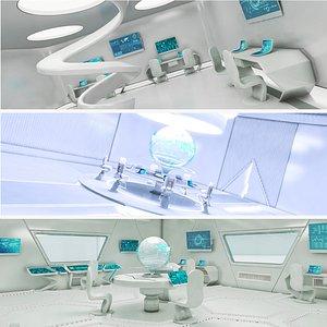 3D futuristic meeting control corridor model