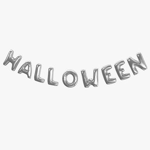 3D Foil Ballon Words Halloween Silver