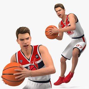 3D Teenage Boy Playing Basketball