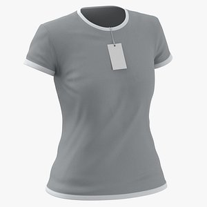 Female Crew Neck Worn With Tag White and Gray 02 3D model