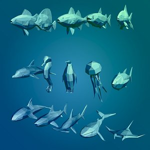 cartoon sea animals 3D model