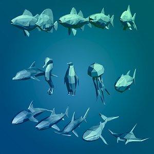 cartoon sea animals 3D model