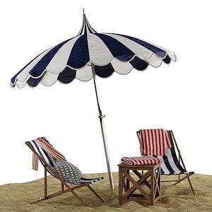 beach lounge outdoor set 3D model
