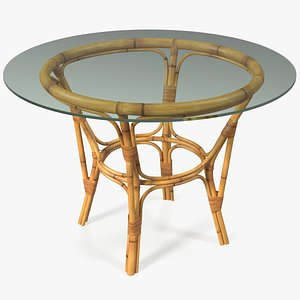 3D bamboo dining table glass