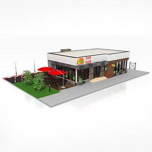 Drive Thru Fast Food Restaurant 3D model
