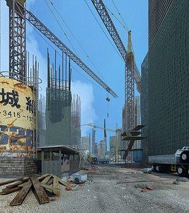 3D Construction site construction site tower crane construction site town excavator construction truck