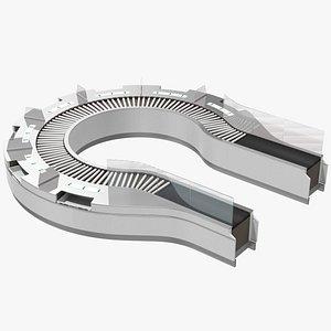 curved roller conveyor 3D model