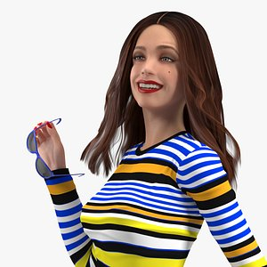 3D Young Woman Fashionable Style Rigged for Maya