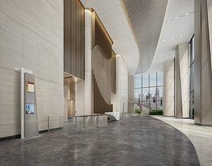 office reception lobby 3D