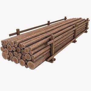 3D model Wood Logs v2 with PBR 4K 8K