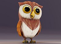Cartoon Owl Rigged and Animated 3D Model
