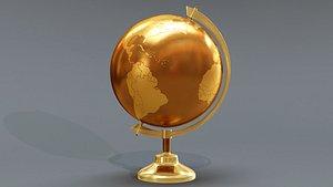 globe world metal 3D
