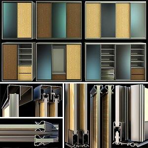 cupboard wardrobe folding doors 3D model