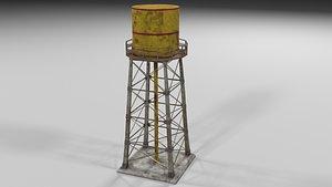 water tower rusty 3D model