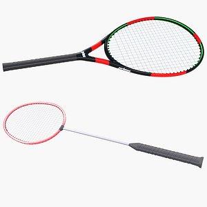 Badminton Racquet and Tennis Racket 3D model