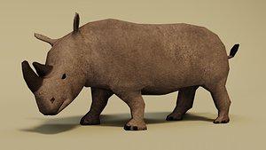 3D rhinoceros rhino model