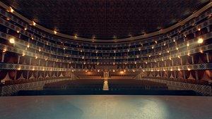realistic theater scene interior 3D
