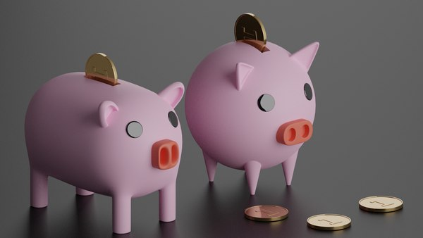 3D Piggy Bank With Coins model