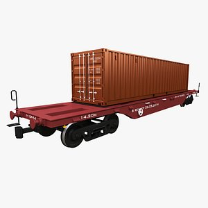 3D model Railcar ISO 40 Container Carrier