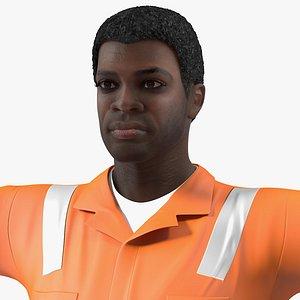 african american road worker 3D model