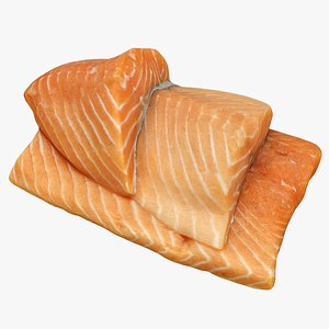 salmon food seafood 3D model