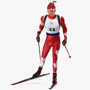 Biathlete Fully Equipped Canada Team Rigged for Modo 3D model
