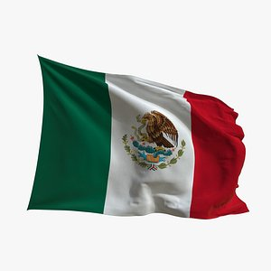 Realistic Animated Flag - Microtexture Rigged - Put your own texture - Def Mexico model