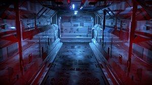 dark sci-fi corridor 3D model