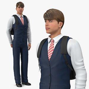 Teenage Boy School Clothes Standing Pose 3D