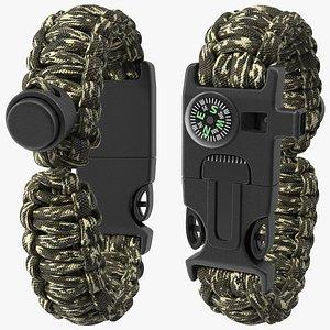 3D Paracord Survival Bracelet Camo