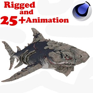 Adult Evo Shark Rigged and Animated 3D model