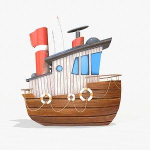 Cartoon Mini Boat 3D model