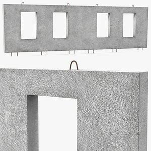 3D model concrete panel windows long