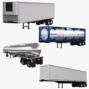 3D US Semitruck Trailers Collection model