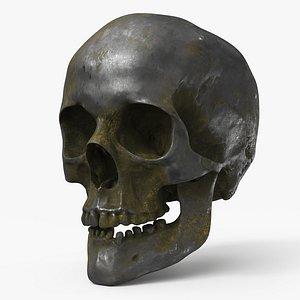 Human Skull  Old Silver - PBR 3D model