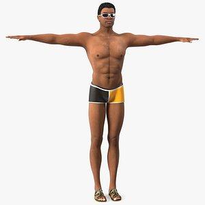 3D model Light Skin Black Man in Swimwear T Pose