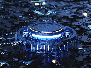 3D Blue luminescent technology poster home page shows C4D creative scene