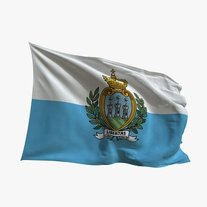 3D Realistic Animated Flag - Microtexture Rigged - Put your own texture - Def San Marino