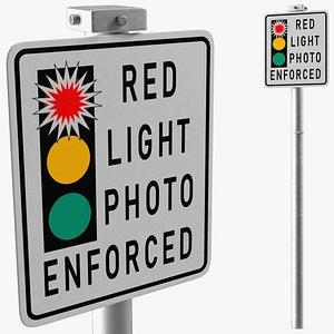 Red Light Camera Warning Sign 3D model