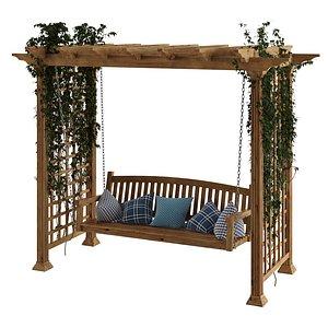 3D model garden swing pergola