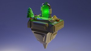 3D Flying island with a portal
