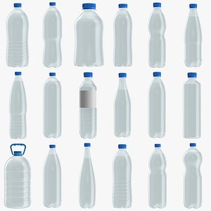 Plastic water bottles mockup PBR 3D model