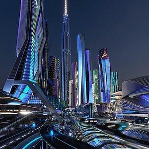 3D Future City Next Night model
