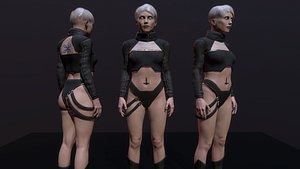 cyberpunk girl 3D model