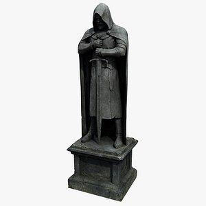 3D model ancient statue knight