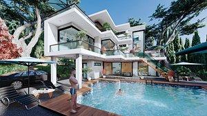 3D modern contemporary villa 2 model