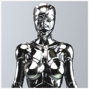 3D Rigged SILVER DROID Female