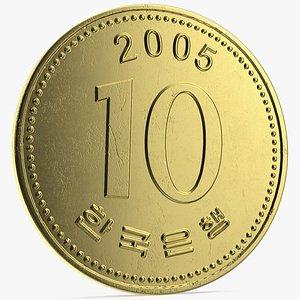 South Korea 10 Won 2005 Coin 3D model
