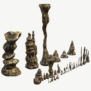 set stalagmites 3d fbx
